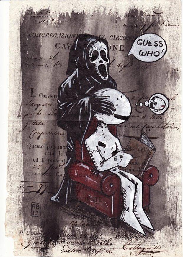 Alessio Bolognesi_Sfiggy - Guess who! - Tecnica mista su carta antica, A4 circa, 2013