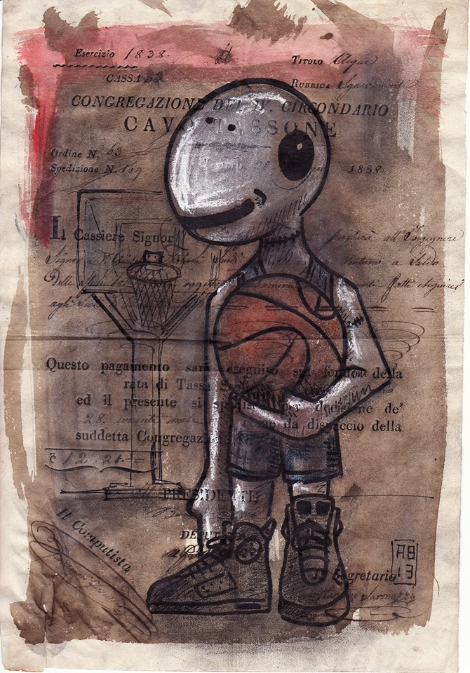 Alessio Bolognesi_Sfiggy - Playing basketball - Tecnica mista su carta antica, A4 circa, 2013