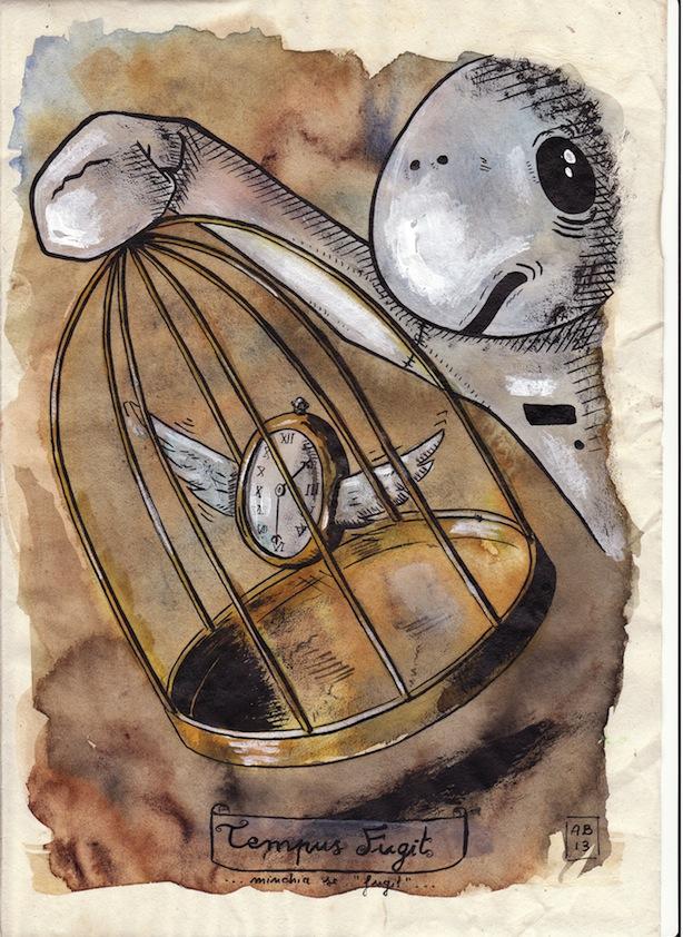 Alessio Bolognesi_Sfiggy - Tempus fugit - Tecnica mista su carta antica, A4 circa, 2013 low